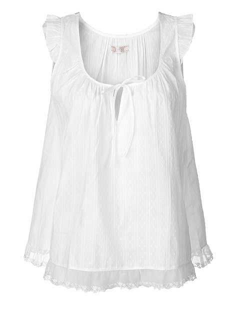 Haut de pyjama en dentelle brodée Catchy - blanc